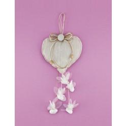 Μπομπονιέρα Γάμου Καρδιά με Κρεμαστά Κουφέτα