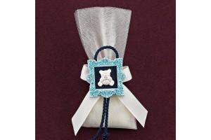 Ακρυλική Κορνίζα με Αρκουδάκι και Τούλι για Μπομπονιέρα Βάπτισης