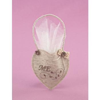 Μπομπονιέρα Γάμου Καρδιά-Θήκη με Κέντημα Άμμου