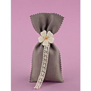 Μπομπονιέρα Γάμου Χακί Πουγκί Ζικ-Ζακ με Λουλούδι