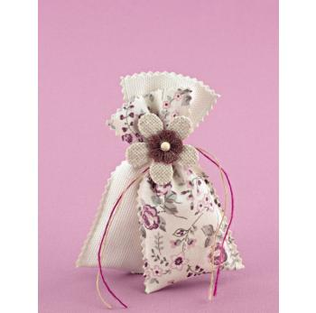 Μπομπονιέρα Γάμου Διπλό Πουγκί Εκρού-Φλοράλ Σάπιο Μήλο με Διακόσμηση Λουλούδια