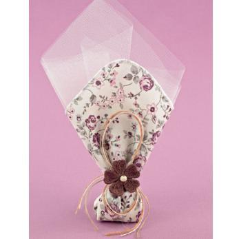 Μπομπονιέρα Γάμου Φλοράλ Μαντήλι Μικρό με Λουλούδι