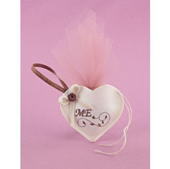 Μπομπονιέρα Γάμου Καρδιά Μικρή Εκρού με Κέντημα Σάπιο Μήλο